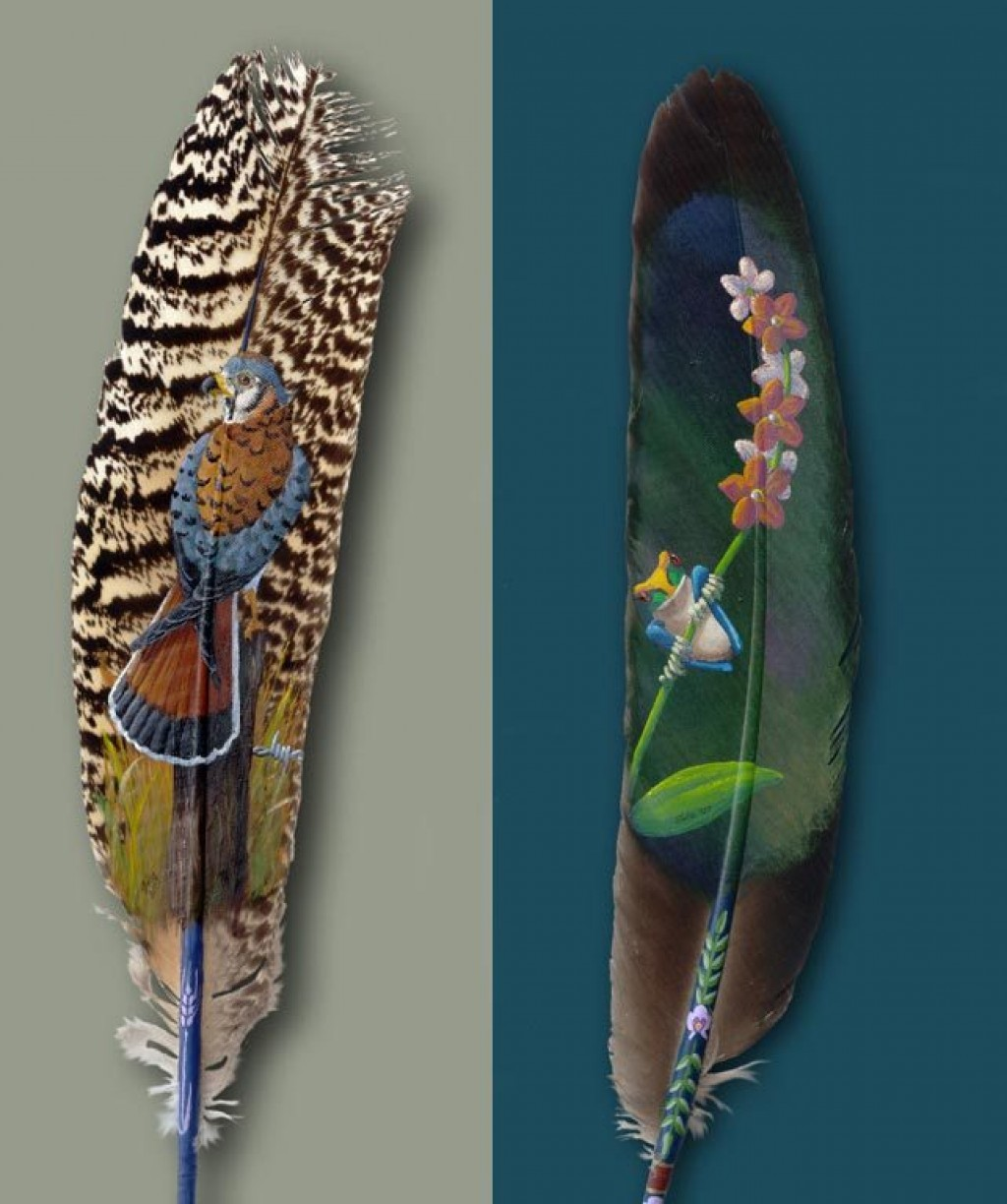Incredible paintings on feathers
