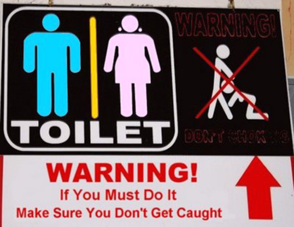 Funny bathroom and toiles signs