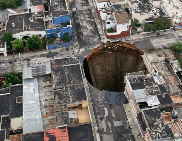 Sinkholes that appeared out of the blue